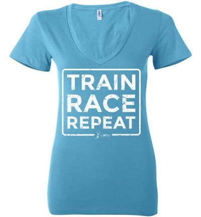 Train Race Repeat Ladies V-Neck T-Shirt Mbio Apparel Bella Turquoise S