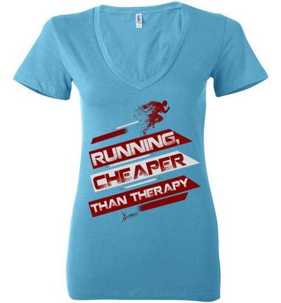 Running, Cheaper Than Therapy Ladies V-Neck T-Shirt T-Shirt Mbio Apparel Bella Turquoise S