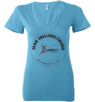 Ladies V-Neck 30 Day Challenge Finisher T-Shirt T-Shirt Mbio Apparel Bella Turquoise S