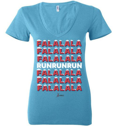 Fa La La Run Ladies V-Neck T-Shirt Mbio Apparel Bella Turquoise S