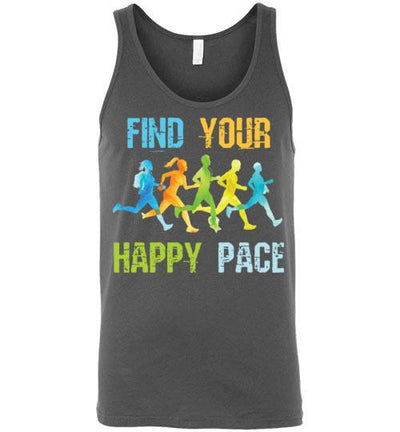 Find Your Happy Pace Tank Top T-Shirt Mbio Apparel Canvas Asphalt S