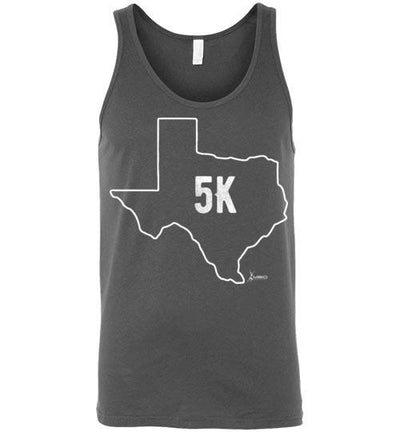 Texas Outline 5K Tank Top T-Shirt Mbio Apparel Canvas Asphalt S
