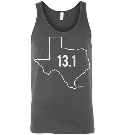Texas Outline Half-Marathon Tank Top T-Shirt Mbio Apparel Canvas Asphalt S