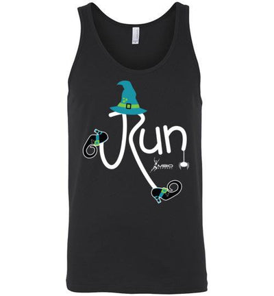 Running Witch Halloween Tank Top T-Shirt Mbio Apparel Canvas Black S