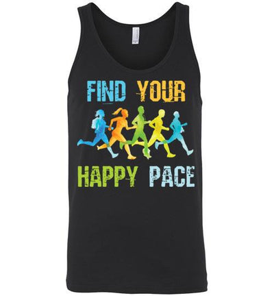 Find Your Happy Pace Tank Top T-Shirt Mbio Apparel Canvas Black S