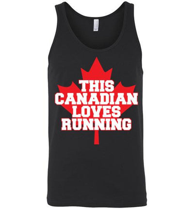 This Canadian Loves Running Tank Top T-Shirt Mbio Apparel Canvas Black S