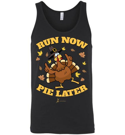 Run Now Pie Later Tank Top T-Shirt Mbio Apparel Canvas Black S