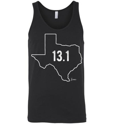 Texas Outline Half-Marathon Tank Top T-Shirt Mbio Apparel Canvas Black S