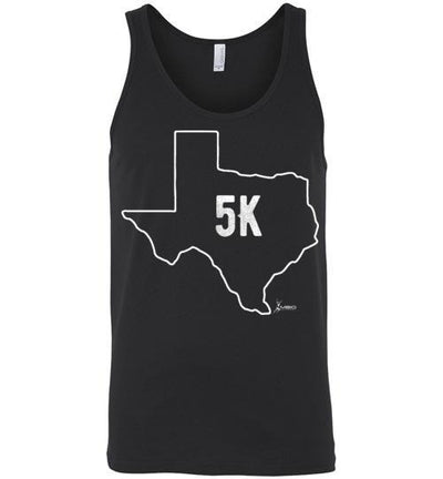 Texas Outline 5K Tank Top T-Shirt Mbio Apparel Canvas Black S
