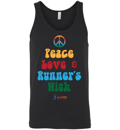 Peace, Love, and Runner's High Tank Top T-Shirt Mbio Apparel Black S