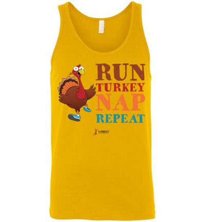 Run Turkey Nap Repeat Tank Top T-Shirt Mbio Apparel Canvas Gold S