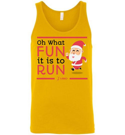 Oh What Fun it is to Run Tank Top T-Shirt Mbio Apparel Canvas Gold S