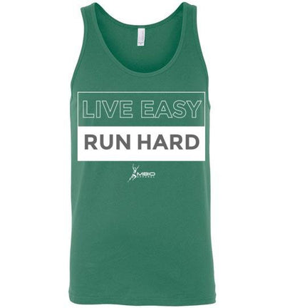 Live Easy Run Hard Tank Top T-Shirt Mbio Apparel Canvas Kelly S
