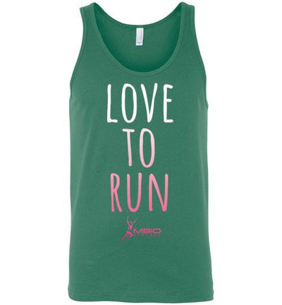 Love To Run Tank Top T-Shirt Mbio Apparel Canvas Kelly S
