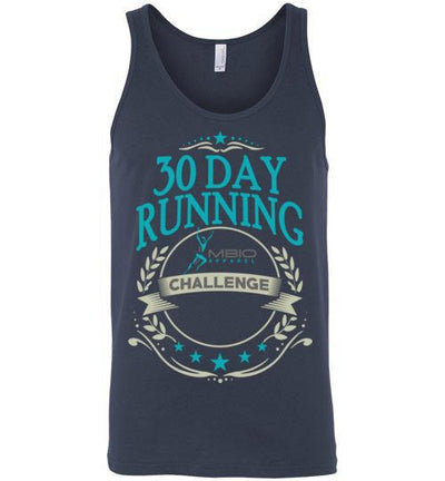 30 Day Running Challenge Tank Top T-Shirt Mbio Apparel Canvas Navy S