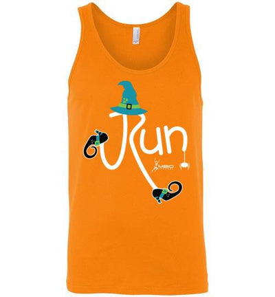 Running Witch Halloween Tank Top T-Shirt Mbio Apparel Canvas Orange S