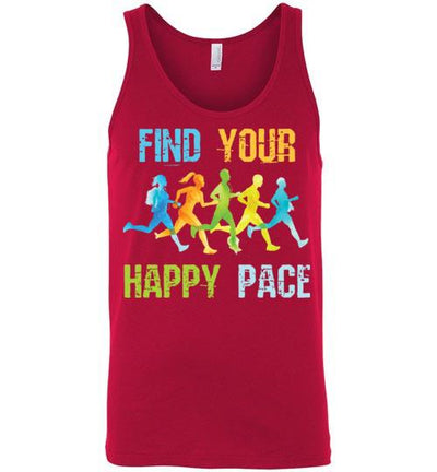 Find Your Happy Pace Tank Top T-Shirt Mbio Apparel Canvas Red S