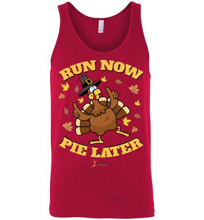 Run Now Pie Later Tank Top T-Shirt Mbio Apparel Canvas Red S