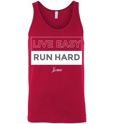 Live Easy Run Hard Tank Top T-Shirt Mbio Apparel Canvas Red S