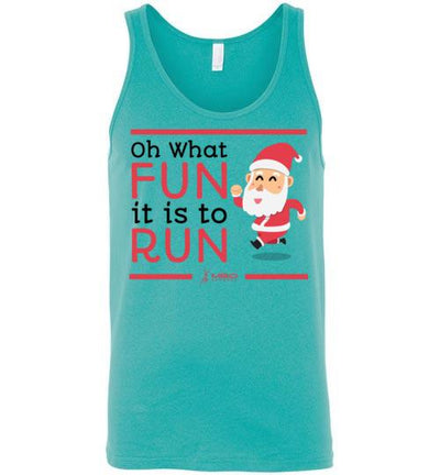 Oh What Fun it is to Run Tank Top T-Shirt Mbio Apparel Canvas Teal S
