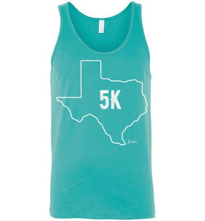 Texas Outline 5K Tank Top T-Shirt Mbio Apparel Canvas Teal S