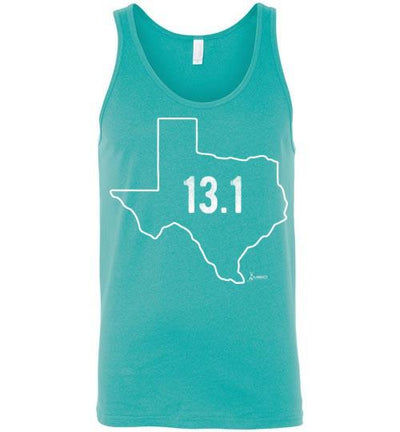 Texas Outline Half-Marathon Tank Top T-Shirt Mbio Apparel Canvas Teal S