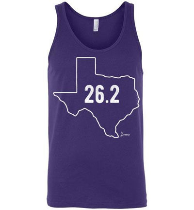 Texas Outline Marathon Tank Top T-Shirt Mbio Apparel Canvas Team Purple S
