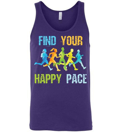Find Your Happy Pace Tank Top T-Shirt Mbio Apparel Canvas Team Purple S