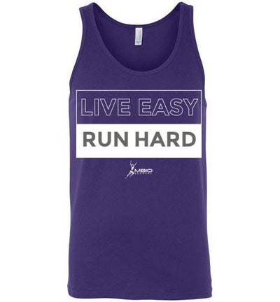 Live Easy Run Hard Tank Top T-Shirt Mbio Apparel Canvas Team Purple S