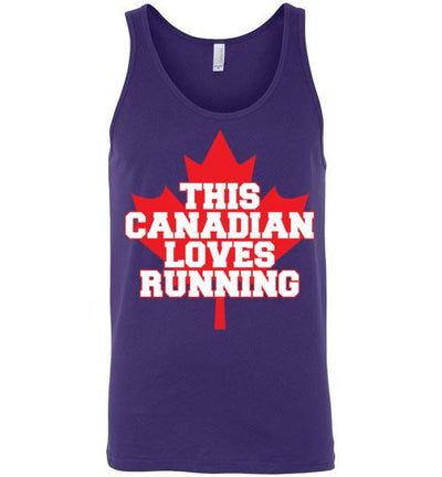 This Canadian Loves Running Tank Top T-Shirt Mbio Apparel Canvas Team Purple S