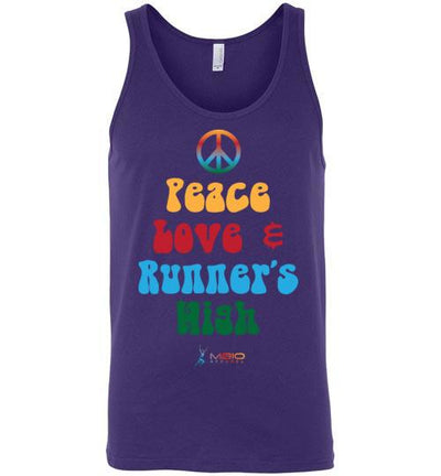 Peace, Love, and Runner's High Tank Top T-Shirt Mbio Apparel Canvas Team Purple S