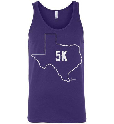 Texas Outline 5K Tank Top T-Shirt Mbio Apparel Canvas Team Purple S