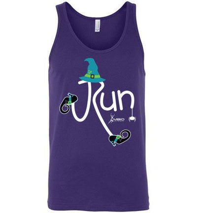Running Witch Halloween Tank Top T-Shirt Mbio Apparel Canvas Team Purple S