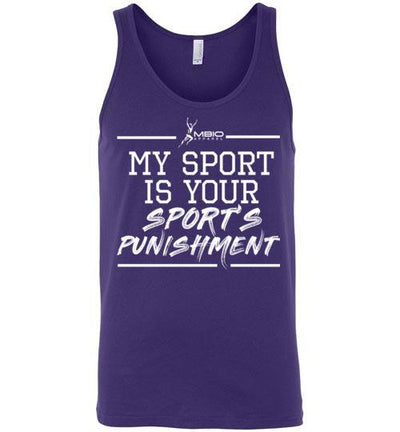 My Sport Is Your Sport's Punishment Tank Top T-Shirt Mbio Apparel Canvas Team Purple S