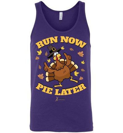 Run Now Pie Later Tank Top T-Shirt Mbio Apparel Canvas Team Purple S
