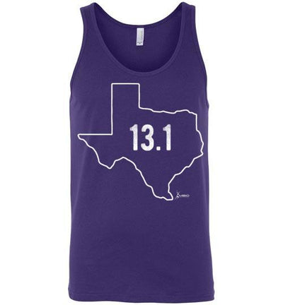 Texas Outline Half-Marathon Tank Top T-Shirt Mbio Apparel Canvas Team Purple S