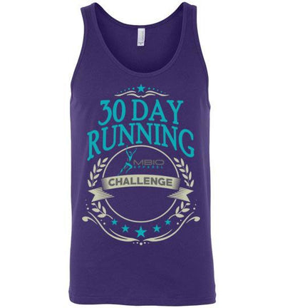 30 Day Running Challenge Tank Top T-Shirt Mbio Apparel Canvas Team Purple S