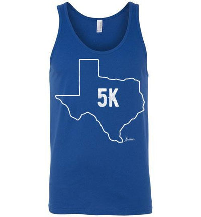 Texas Outline 5K Tank Top T-Shirt Mbio Apparel Canvas True Royal S