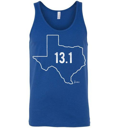 Texas Outline Half-Marathon Tank Top T-Shirt Mbio Apparel Canvas True Royal S