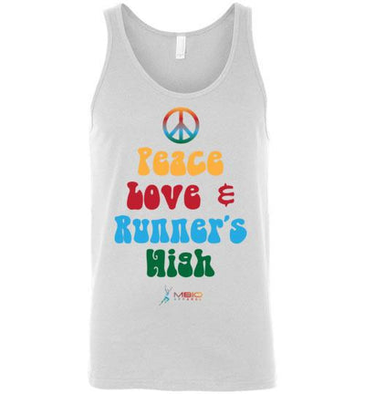 Peace, Love, and Runner's High Tank Top T-Shirt Mbio Apparel White S