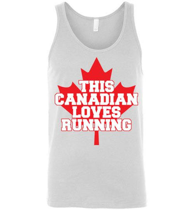 This Canadian Loves Running Tank Top T-Shirt Mbio Apparel Canvas White S