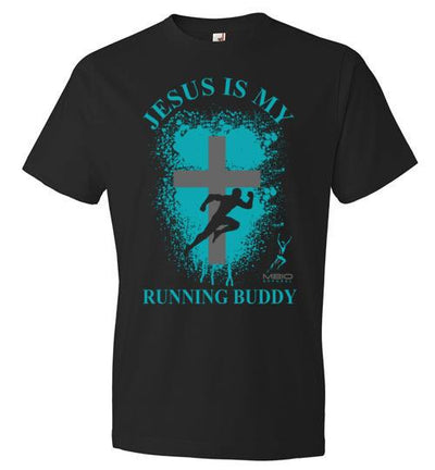 Jesus is My Running Buddy T-Shirt T-Shirt Mbio Apparel Anvil Black S