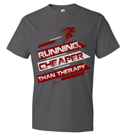 Running, Cheaper Than Therapy T-Shirt T-Shirt Mbio Apparel Anvil Charcoal S