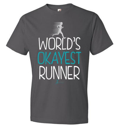 World's Okayest Runner T-Shirt T-Shirt Mbio Apparel Anvil Charcoal S