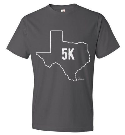 Texas Outline 5K T-Shirt T-Shirt Mbio Apparel Anvil Charcoal S