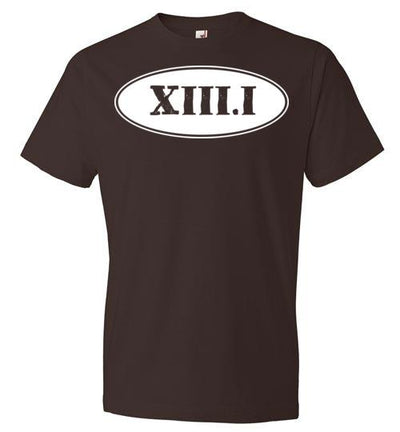 Half Marathon Roman Numeral Oval T-Shirt T-Shirt Mbio Apparel Anvil Chocolate S