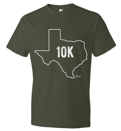 Texas Outline 10K T-Shirt T-Shirt Mbio Apparel Anvil City Green S