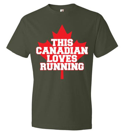 This Canadian Loves Running T-Shirt T-Shirt Mbio Apparel Anvil City Green S