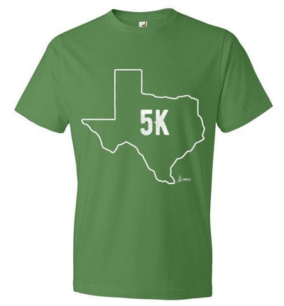 Texas Outline 5K T-Shirt T-Shirt Mbio Apparel Anvil Green Apple S