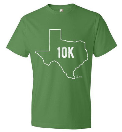 Texas Outline 10K T-Shirt T-Shirt Mbio Apparel Anvil Green Apple S